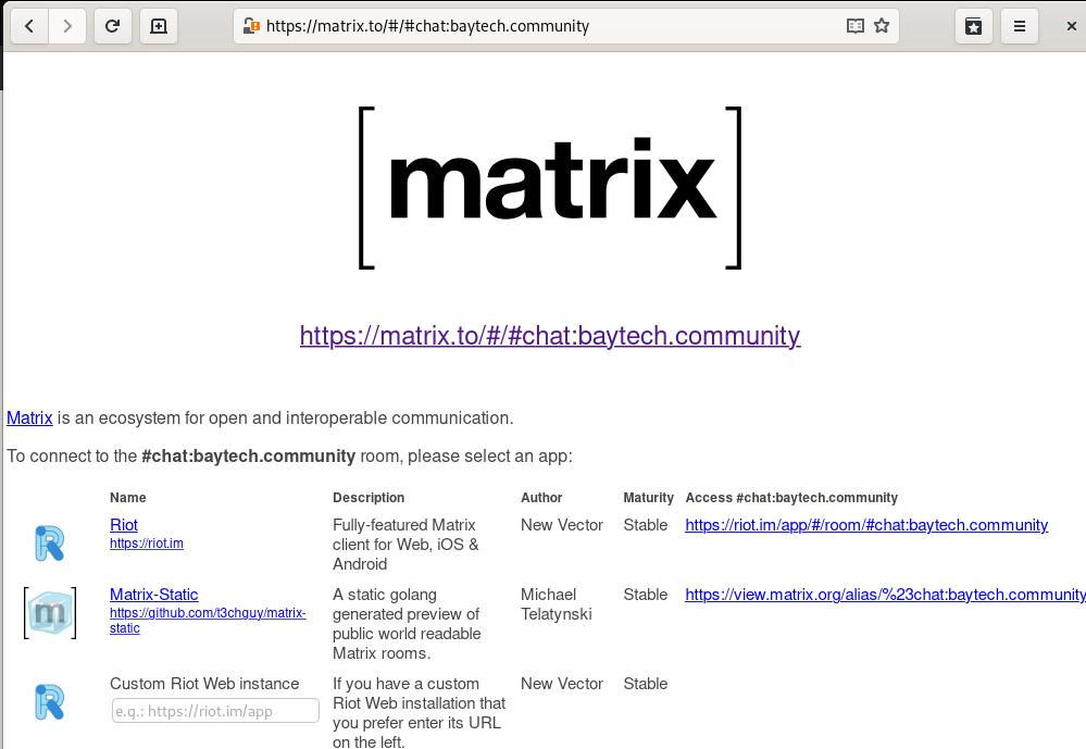 My local matrix.to server hijacking the global one in the browser